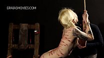 Blonde girl demolished with a whip Thumbnail