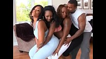 Black babe with big phat ass rides throbbing cock in an orgy thumbnail