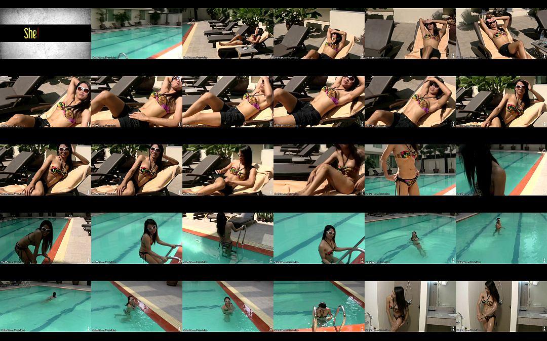 Amazing tgirl poses in bikini poolside and strips in shower