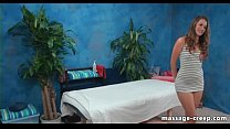 Nasty brunette lingerie massage ends creampie