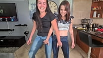 Two piss sluts soaking and wetting their jeans ...
