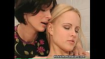 Hot brunette lesbian licking