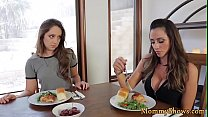 Milf orally pleasures her new stepdaughter