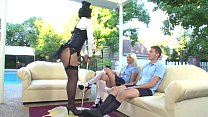 Sexy slut Roxanne Hall in lingerie rides a thick cock while blonde babe Shay Golden looks on