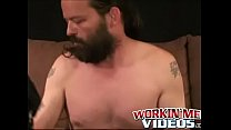 Hung mature bearded daddy tugs on his big fat cock harshly