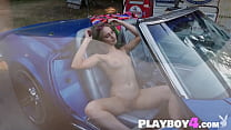 Petite small tits model passion posed on the sport car