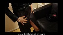 Milf in long leather skirt, leather boots and leather jacket