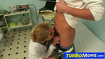 Hot milf doctor Jenny B sexually abuses a young boy patient preview image