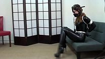 Pretty brunette tied latex gagged with boots bondage bdsm