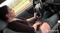 Sexy Lou driving and rubbing her wet pussy Vorschaubild