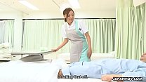 Raunchy nurse sucking off a patient and getting that dick hard
