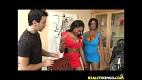 b. Cakes bares her luscious ebony rack and gets pummeled nicely