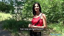Public Agent Busty horny lady gets fucked in the woods for cash