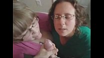 Two amateur blowjob chicks receive cum on their face and glasses