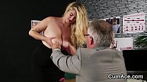 Spicy model gets jizz shot on her face gulping all the load