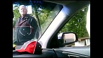 Nasty old man spies for the guy jerking in a car - Streampornvids.com