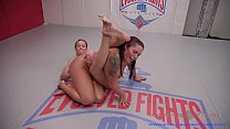 Cheyenne Jewel lesbian wrestling and strapon fu...