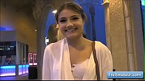 Cutie young teen amateur Adria flash her tits in the street in a beautiful evening