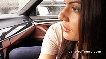 Hot teen anal banged in the car