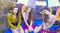 Three petite teens fucking and sucking cock outdoors