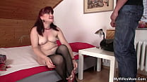 My horny girlfriends mom toying before doggy