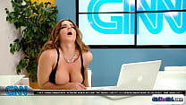 Busty newsanchor rubbed during air time