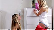 Beautiful hot teens Scarlet and Sierra play dildo and pussy pleasure