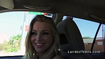 Sexy blonde teen hitchhiker sucks cock