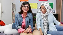 MIA KHALIFA - Busty Arab Pornstar Trains Her Muslim Friend How To Suck Cock thumbnail