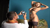 Hot slut in sexy lingerie has sex on the photo shoot