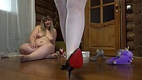 Image: Fat lesbian with a strapon fucked a busty milf doggystyle. Foot fetish in stockings, saggy tits and juicy booty.