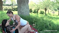 12512 French mom teaching teen in foursome with Papy Voyeur outdoor preview