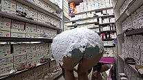 Foot fetish with peeping under a skirt in a public shoe store. Long legs in nylon pantyhose and a juicy ass in panties under a short dress.