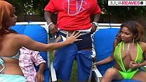 Ebony sluts Diamond Star and Chyanne Jacobs meets 2 big black boner for a hard outside foursome