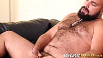 Hairy bear Luis Vega masturbating passionately solo