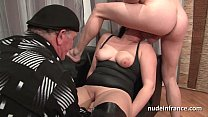 Amateur bbw french slut hard sodomized fist fucked and cum covered in a gangbang preview image