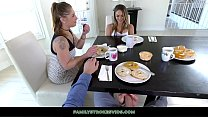 Naughty Blonde Teen Gives Stepdad A Footjob Under The Table