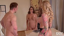 Busty milf Kayla Green & hot lawyer Cathy Heave... Thumbnail