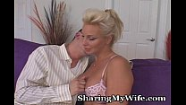 Older Blonde Goes Nuts For Young Big Cock video