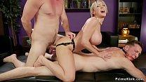 Milf bangs husband while taking dick