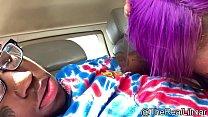 Purple Haired TRANNY Slurps Up Lilmar's Sperm