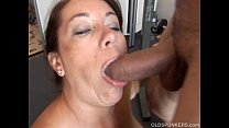 Beautiful busty old brunette spunker loves to suck cock preview image