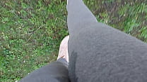 In a public park your stepsister can't hold back and pisses herself completely, wetting her leggings