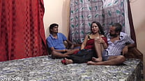 Indian husband shared his newly married 2nd wife with best friend.. Threesome sex with clear audio