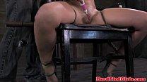 Leg spreaded bitch handling electrosex