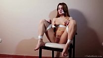 Brunette babe Clara D rubbing her cunt preview image