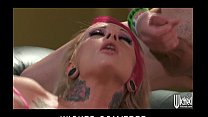 Tattooed punk chick Jessie Lee takes on two cocks at once