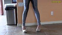 full bladder girls pee their skintight jeans