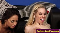 British stockings babe facialized in trio