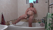 Boyfriend has installed a hidden camera in the bathroom and spies on a beautiful BBW with big booty washing and masturbating with a huge dildo. Homemade fetish.